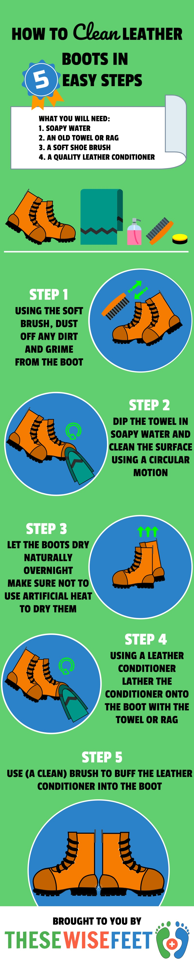 How To Clean Leather Boots At Home - Infographic