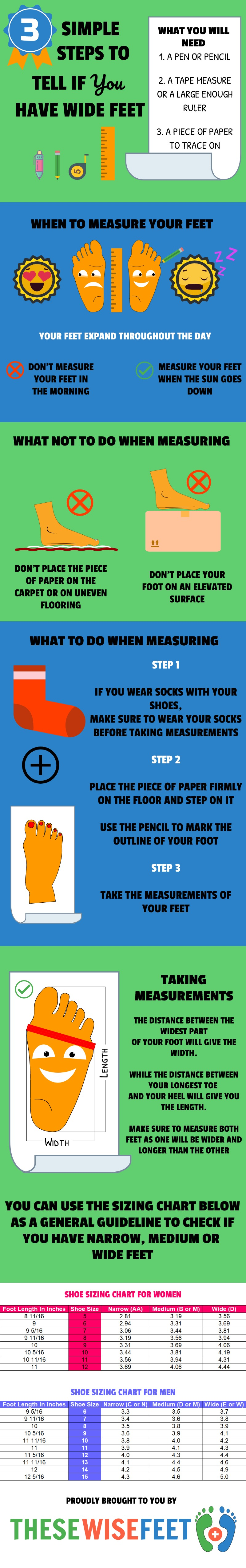 How to tell if you have wide feet infographic